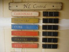 NL Central Standings board Reds Brewers Cubs Pirates Cardinals | MyRusticBoardSigns - Woodworking on ArtFire