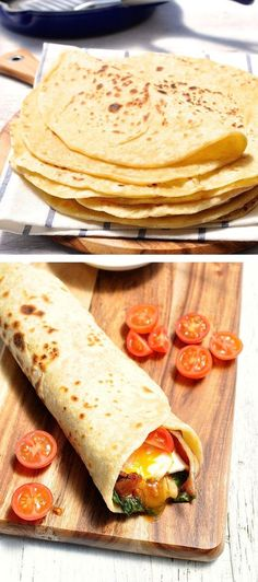 Soft pliable flatbread recipe which requires no yeast and hardly any kneading.: