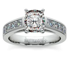 Cushion Princess Channel Diamond Engagement Ring in White Gold http://www.brilliance.com/engagement-rings/princess-channel-diamond-ring-white-gold-1-ctw