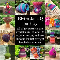 Elvira Jane Q on Etsy. All of my patterns are available in UK and US crochet terms, and are suitable for left or right handed crocheters. Instant download.  All images and designs are © Elvira Jane.