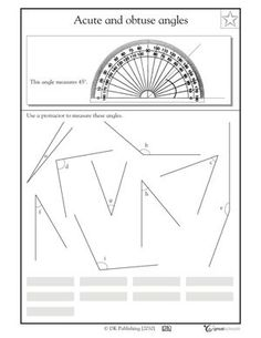 4th grade math worksheets slide show - Worksheets and Activities - Measuring angles with a protractor   GreatSchools