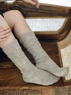 Garden weeds are a nuisance - except as sock patterns. If you're into gardening (besides knitting), choose your sock pattern accordingly. The sock is worked toe up with a short row heel. Woolen Socks, Red Plum, Lace Socks, Knitted Flowers, Stockinette, Knee High Socks, Knitting Socks, Mustard Yellow, Mittens