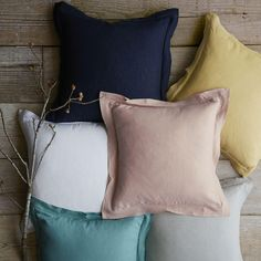 Belgian Flax Linen Cushion Cover - Navy, blush and mustard <3