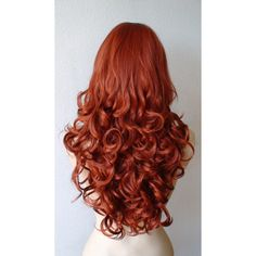 Summer Special // Red wig. Auburn color wig. Long curly hair wig. Natural looking High quality synthetic wig.