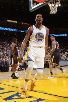 Kevin Durant of the Golden State Warriors reacts during the game against the Utah Jazz on April 10 2017 at ORACLE Arena in Oakland California NOTE TO. Warriors Basketball Team, Basketball Teams, Durant Nba, Kevin Durant, Basketball Games Online, Ian Clark, Golden State Warriors Pictures, Shaun Livingston, Andre Iguodala