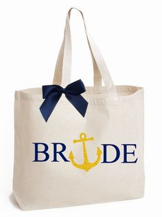 Nautical Themed Bridal Party Tote Bag with Glitter Anchor Design