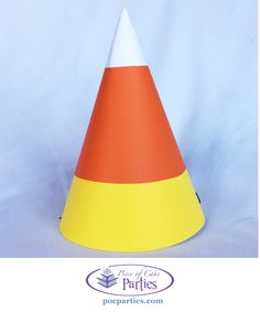 Halloween candy corn birthday party hat by Piece of Cake Parties. Buy a complete, handcrafted Halloween birthday party-in-a-box at pocparties.com.