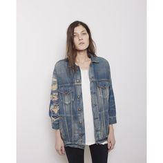 R13 Oversized Trucker Jacket ($765) ❤ liked on Polyvore featuring outerwear, jackets, jean jacket, trucker jacket, cropped jacket, lightweight jackets and blue jean jacket