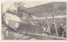 1917 WWI FOTO CARTOLINA AEREO AUSTRIACO ABBATTUTO ISONZO-F14
