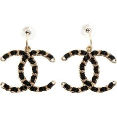 Pre Owned Chanel Earrings Satin Chain Link Xl Jumbo Maxi Black Gold