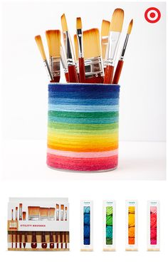 Making a personalized brush holder for your DIY crafts is easy. Just apply Hand Made Modern multicolor yarn to a simple container. And, speaking of brushes, this Hand Made Modern 10-piece set offers just about any size you'll want, and the brushes work great with any of the paints or wax in this super line of craft supplies.