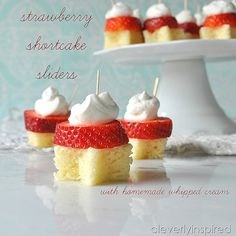Strawberry Shortcake Sliders with Homemade Whip cream! SO easy for summer! @cleverlyinspire -- Tatertots and Jello