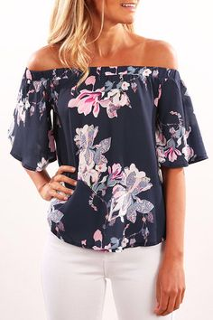 Navy Random Floral Print Off Shoulder Irregular Hem Blouse