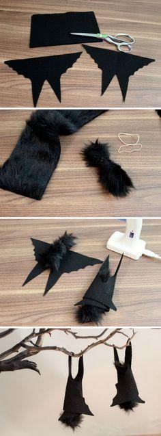 DIY Hanging Felt Bat Centerpiece