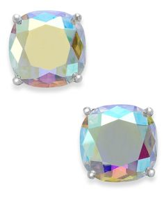kate spade new york Silver-Tone Faceted Abalone Square Stud Earrings - Fashion Jewelry - Jewelry & Watches - Macy's