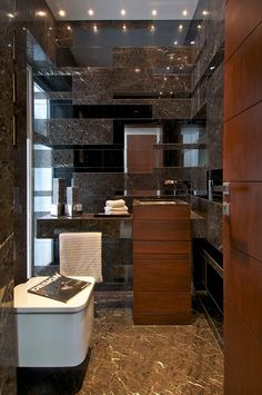 Bathroom - Embellished with the finest woods, stone & tiles only compliment this exquisitely designed space.    (re-pinned photo only by Atelier dnD)