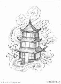 Japanese pagoda Tattoo Designs | pagoda - Tattoo Artists.org