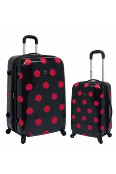 Travelers Club 2-Piece Luggage Set With 4-Wheel System In Pink Polka Dot