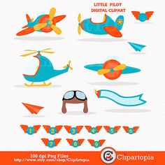 Pequeño piloto digital clipart / aviador clip art / por ClipArtopia