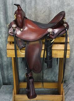 Western trail with inlay seat by Allegany Mountain Trail Saddles! Custom fit comfort for you and your horse! #trailsaddle #customsaddle