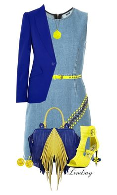 """MSGM Beaded Denim Dress"" by lindsayd78 ❤ liked on Polyvore featuring MSGM, The Volon, Privileged, ONLY, Alexander McQueen, Malababa and Givenchy"