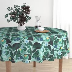 Minimal Round Tablecloth Minimal Tropical Leaves by Tropical Cotton Sateen Circle Tablecloth by Spoonflower