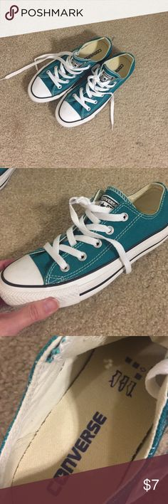 Green brand new women's Converse sneakers size 6. Never worn adorable greenish-blue women's Converse All-star sneakers in size 6. Perfect for San Jose Sharks fans - color match. Converse Shoes Sneakers