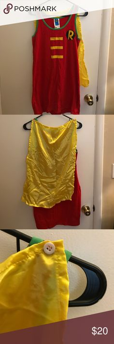 Halloween DC Comics Robin Costume! One piece Halloween Costume dress with attached cape, great for Halloween! Comes with bonus stockings used as green sleeve accessories! Worn once for a couples batman and Robin costume! See other listing for men's batman costume and bundle to save! Dresses Midi