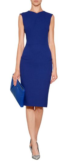 Simple and exquisitely stylish, this bright royal sheath from Roland Mouret features delicate pleat detailing and a characteristic back zip #Stylebop