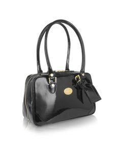 Black Italian Patent Leather Shoulder Bag