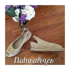 """Naturalizer canvas wedges Naturalizer tan canvas wedges. Peep toe with a 2 1/2"""" heel. Not too tall but not flats either, perfect!  Small spot in the side as pointed out in the picture. I'm sure it will come off, I just haven't tried. Wore once. Naturalizer Shoes Wedges"""