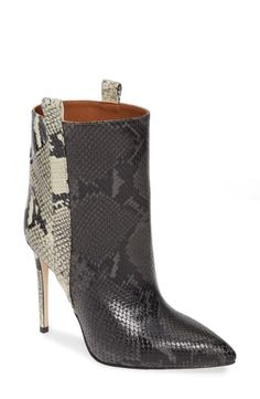 Paris Texas Snake-embossed Leather Stiletto Booties In Grey/ Natural Snake Texas Snakes, Paris Texas, Leather Booties, World Of Fashion, Luxury Branding, Stiletto Heels, Peep Toe, Nordstrom, Booty