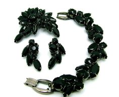 Vintage Juliana Brooch Bracelet & Earrings Set Jet Black Marquise Navettes D and E Parure. $175.00, via Etsy.