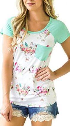 54d0ba5275b0f Women s Casual Floral Print Short Sleeve