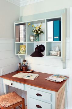 Love this kitchen desk and hutch work are from the blog:  Pretty Handy Girl. cabinet painted Copen Blue, Sherwin Williams.