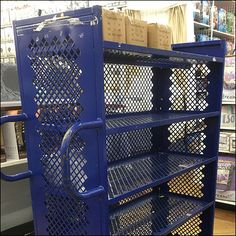 This all-blue Perforated Metal-Mesh Stocking Cart concept provides positive enclosure for the transport of even small merchandise. Retail Fixtures, Expanded Metal, Perforated Metal, Metal Mesh, Cart, Stockings, Home Appliances, Display, Covered Wagon