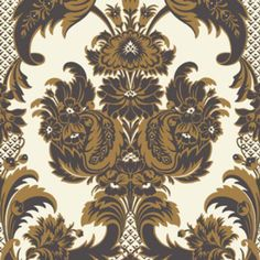 Cole & Son Wyndham by Cole & Son - Black & Gold Wallpaper - - Albemarle Collection Cole And Son Wallpaper, Brown Wallpaper, Damask Wallpaper, Wallpaper Roll, Pattern Wallpaper, Wallpaper Online, Custom Wallpaper, Rococo, Walpaper Black