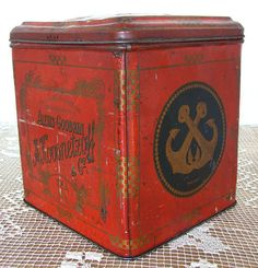 Russian Imperial Antique 19c. tea tin TEA No.1 very big, A. Koosnetzoff and Co litho tin box  fire red with gold ornamentation