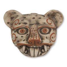 World Menagerie Hand-Crafted Ceramic Jaguar Mask Wall Décor Latin Decor, Jaguar Animal, Paper Mache Mask, Tribal Face, Ceramic Mask, Starburst Wall Decor, Mexican Ceramics, Cat Mask, Animal Masks