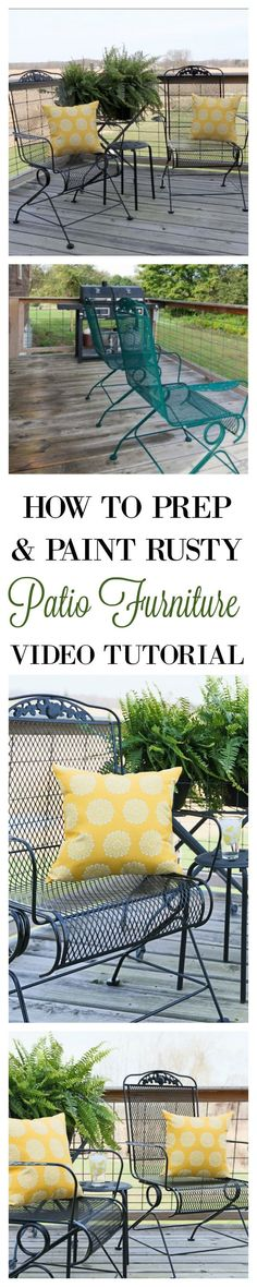 How to Prep and Paint Rusty Metal Patio Furniture to Look Like New Again With Complete Step by Step Video Tutorial