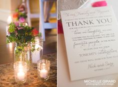 Candle Light in Jars and Ceremony Flowers in jars :: Ceremony Details :: Thank You Note for Guests :: Lord Jeffery inn in Amherst MA :: Michelle Girard Photography & Design