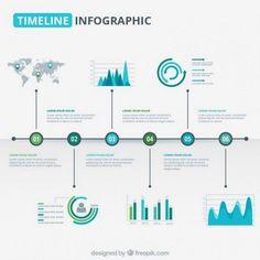 Modern timeline graphic in blue and green tones Free Vector … Timeline Project, Timeline Design, Timeline Infographic, Infographic Templates, Dashboard Design, Brochure Design, Design Web, Gropius Bau, Design Editorial