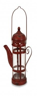 IMAX Exterior Lighting Teapot Lantern in Red - 47252