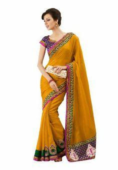 Fabdeal Women Indian Designer Wear Embroidered Saree Mustered Fabdeal, http://www.amazon.de/dp/B00GAQ9UQ8/ref=cm_sw_r_pi_dp_tAQptb01VKD1Y