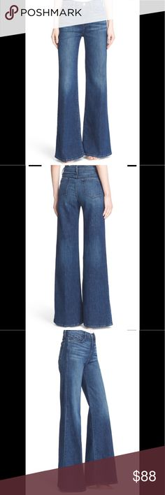 Frame Denim Jeans Frame Denim Jeans.  Size 26.  Super-soft brushed denim, these medium wash jeans have a 70's vibe.  High waist and flared.   Approx 30. 5 inseam.  They've been shortened a bit.  10.5 rise.  5 pocket style.  Zip fly with button closure. Frame Denim Jeans Flare & Wide Leg