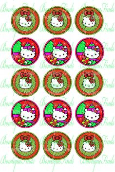 """INSTANT DOWNLOAD. Kitty Christmas II 1"""" Bottle Cap Images. U Print.. on Etsy, $0.99"""