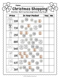 Kids will love deciding if they have enough money in their pocket to buy each of the holiday gifts on this Christmas money worksheet. Christmas Math Worksheets, 3rd Grade Math Worksheets, Homeschool Worksheets, Money Worksheets, Free Christmas Printables, Homeschool Math, Homeschooling, Free Printable Christmas Worksheets, Pennies