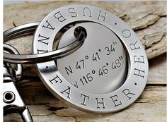 Personalized Father's Day Gifts From the Kids:  Dad Keychain with GPS Coordinates (for where the kids were born?) by Gunmetal Gems at Etsy