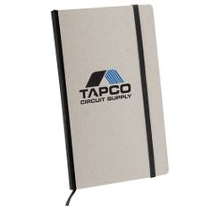 """New larger size, 8-3/4""""h x 5-3/4""""w x 3/4"""", 100% Recycled hard cardboard cover with contrasting color lustrous cloth bound spine, Matching color elastic band closure and bookmark, 80 - 100% Recycled gray lined pages with separate side bar for specific details, Separate inside back cover pocket for all your important papers or receipts. As low as $3.99"""
