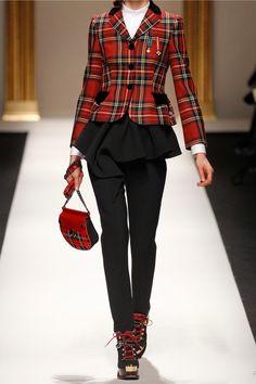 Moschino Embroidered velvet-trimmed tartan wool blazer